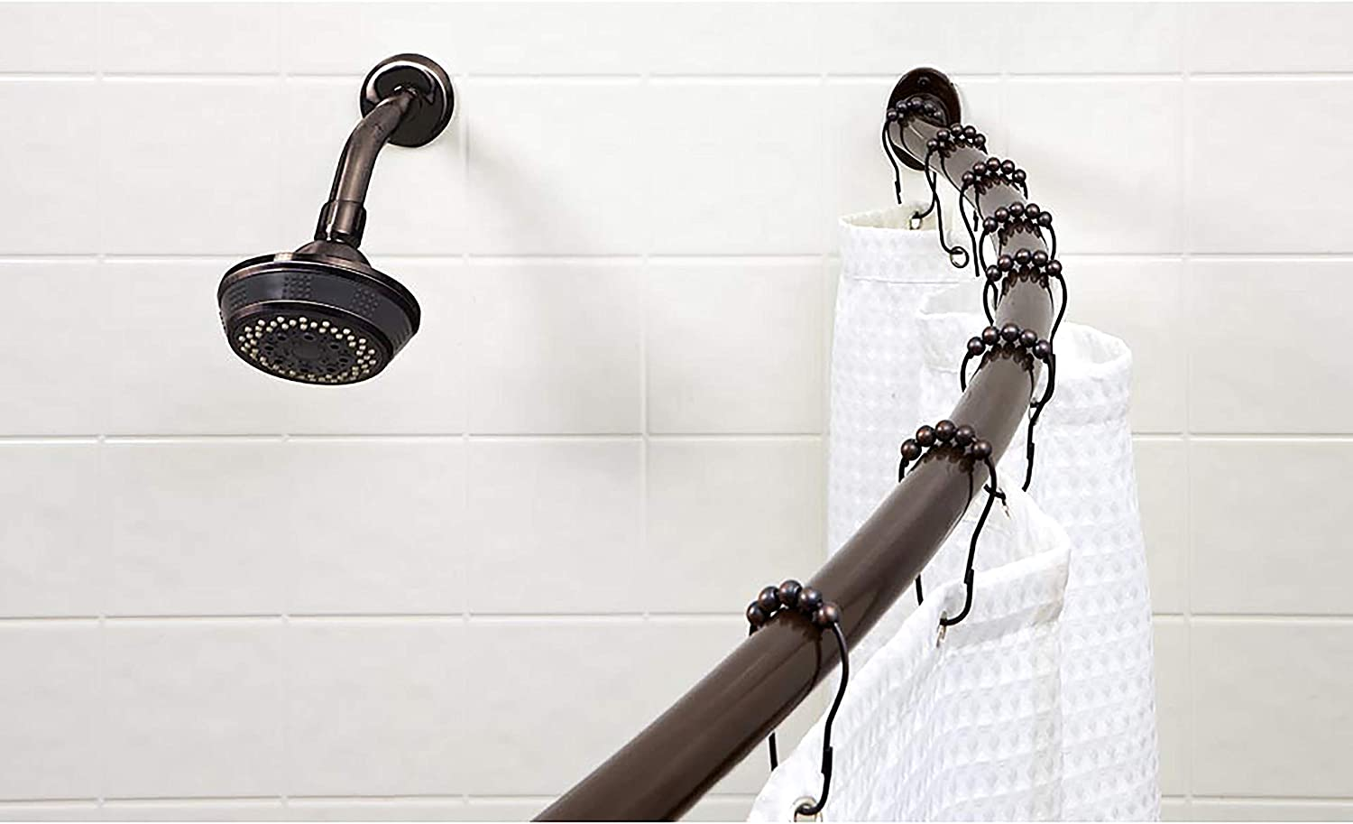 """42/""""-72/"""" 33/% More Space Oil Rubbed Bronze Bath Bliss Wall Mounted Adjustable Curved Bathroom Shower Curtain Rod"""