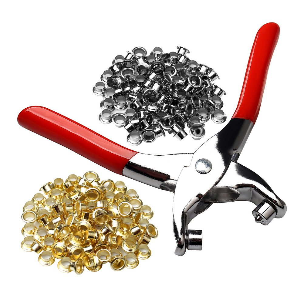 Color Scissor 1/4 Grommet Eyelet Setting Plier with 100 PCS Silver and 100 PCS Gold Eyelets Grommets, Eyelets Punch Holes Hand Pliers Tool for Making Holes in Leather/Clothes/Shoes/Fabric/Belts etc.