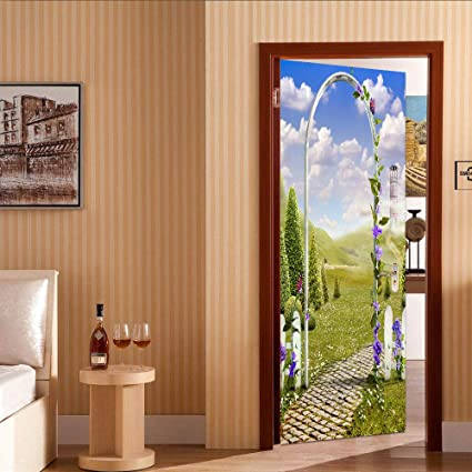 3D Calcomanías Puerta - Spring fairyland La puerta está atascada Dormitorio sala de estar impermeable Etiqueta de la puerta Inodoro: Amazon.es: Bricolaje y herramientas
