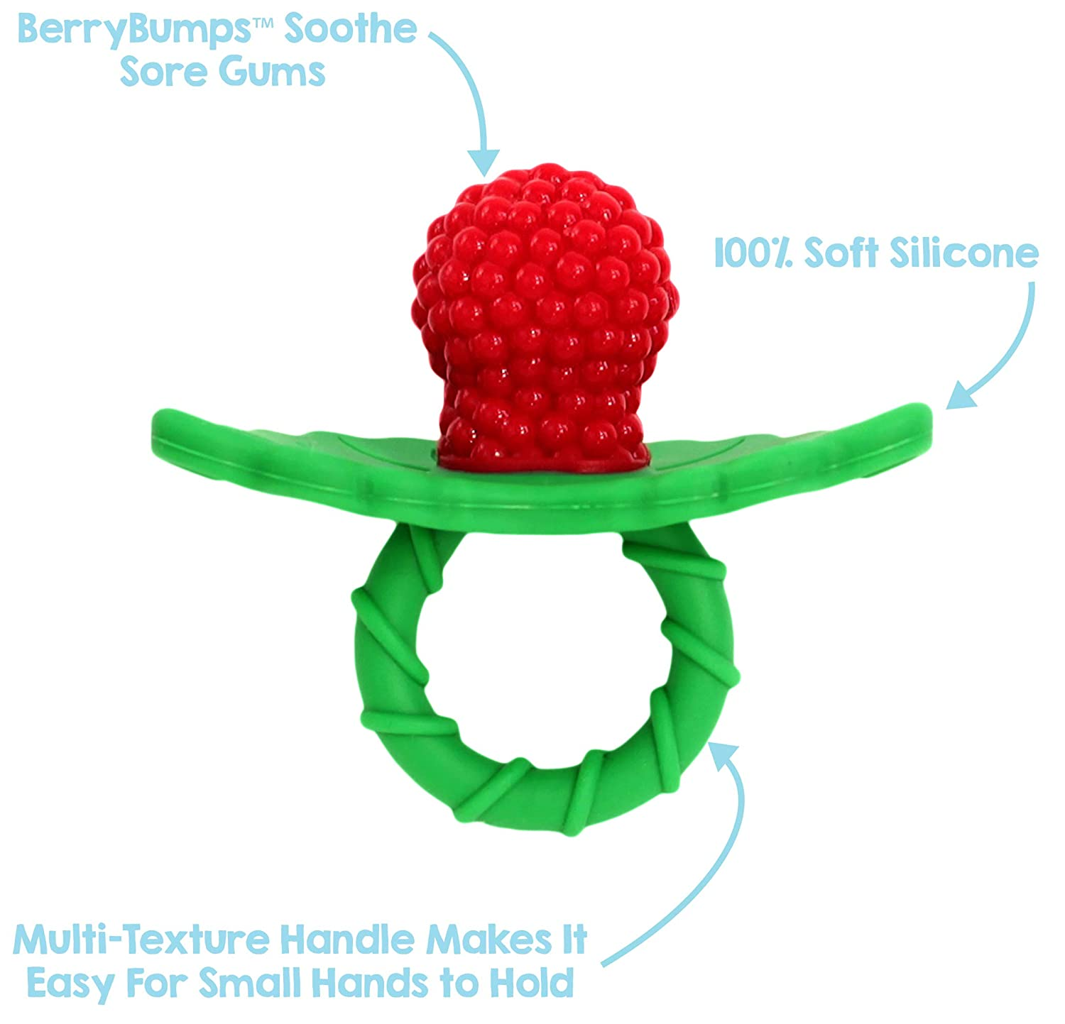 RaZbaby RaZberry Silicone Baby Teether Toy - Berrybumps Soothe Babies Sore Gums - Infant Teething Toy - Hands Free Design - BPA Free - Easy-to-Hold Design - Teething Relief Pacifier - Fruit Shape/Red : Baby Teether Toys : Baby