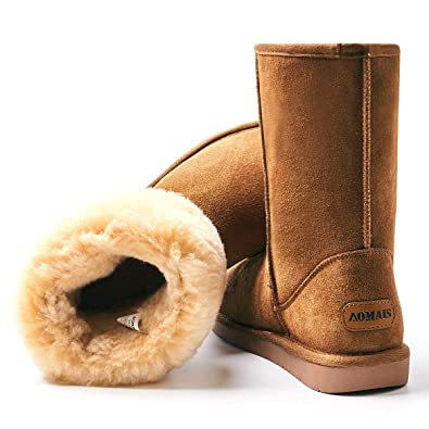 f991f51df2656 Amazon.com | AOMAIS Women's Winter Snow Boots Fur Lined Mid Calf and ...