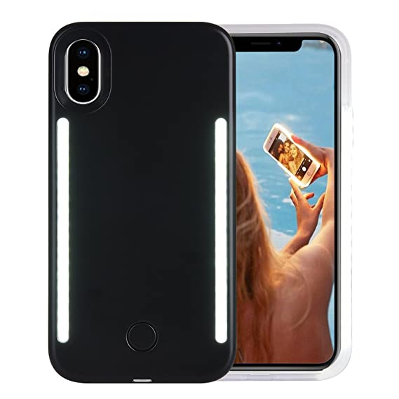 cheap for discount 1dc7d 15a6b Wellerly iPhone Xs Case, iPhone X Case, LED Illuminated Selfie Light Cell  Phone Case Cover [Rechargeable] Dual Light Up Luminous Selfie Flashlight ...