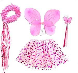 Enchantly Girls Pink Butterfly - Fairy Costume Dress Up Play - Wings, Wand, Halo and Tutu Skirt