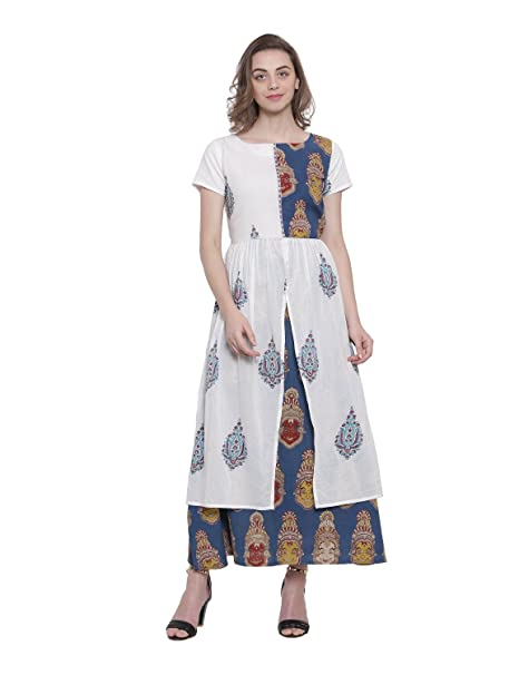 8489e68dbc SOOCHIRANG Women s Kalamkari Block Printed Ankle Length Pure Cotton Layered Maxi  Dress (Small)