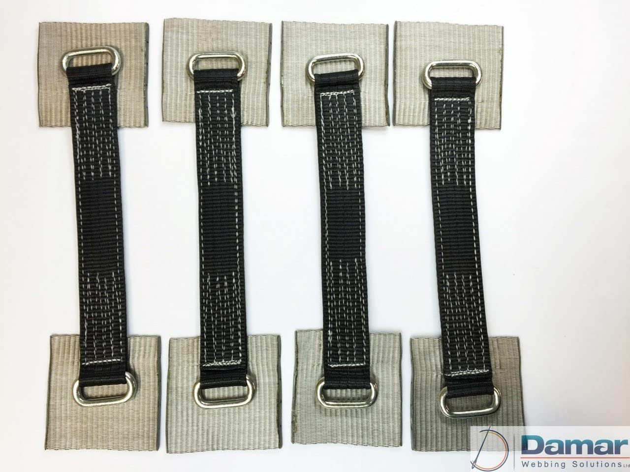 Black and small pads 4 x 4mtr Car Transporter Recovery ratchet Strap Set