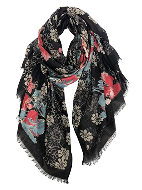 a87e5bc090385 GERINLY Scarf Wrap Fashion Cozy Scarves Womens Floral Evening Shawls (Black  Red)