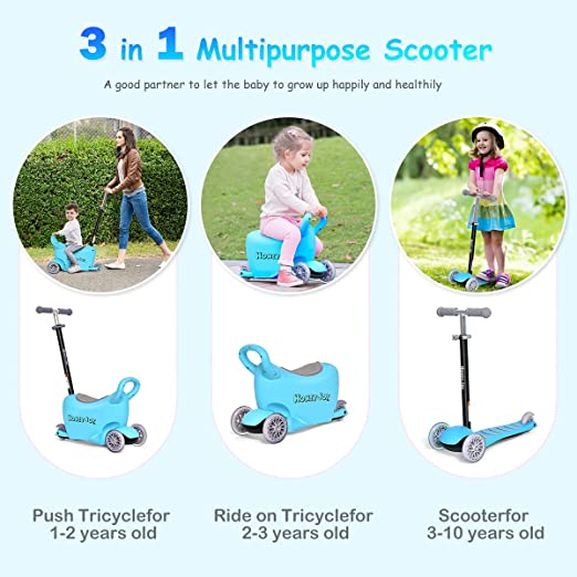 Costzon 3-in-1 Kick Scooter with Removable Seat/Handle, Ride On Tricycle, Parental Push Tricycle, Great for Kids & Toddlers Girls or Boys – Adjustable ...