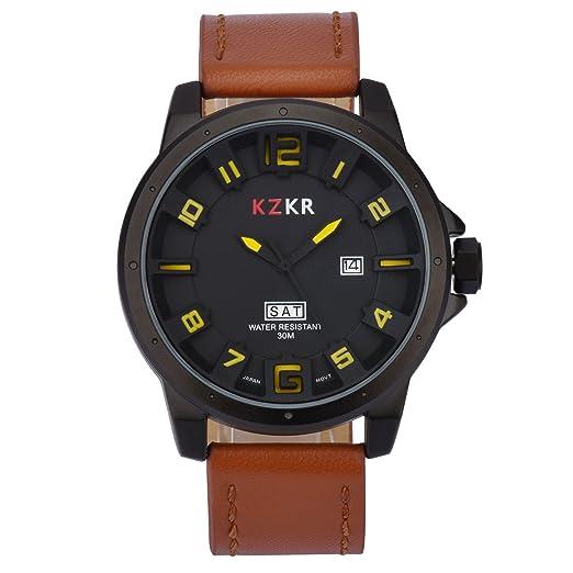 f73e835aef31 Militar Hombre Reloj Hombres Analog 3D Piel Facial Cuarzo Reloj de Pulsera  k382  Amazon.es  Relojes