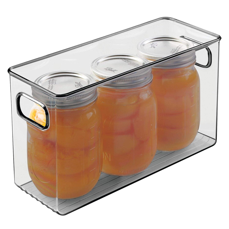 frutas y otros alimentos gris mDesign Organizador de nevera para la cocina Fiambreras para l/ácteos Cajas de pl/ástico para guardar alimentos en el frigor/ífico