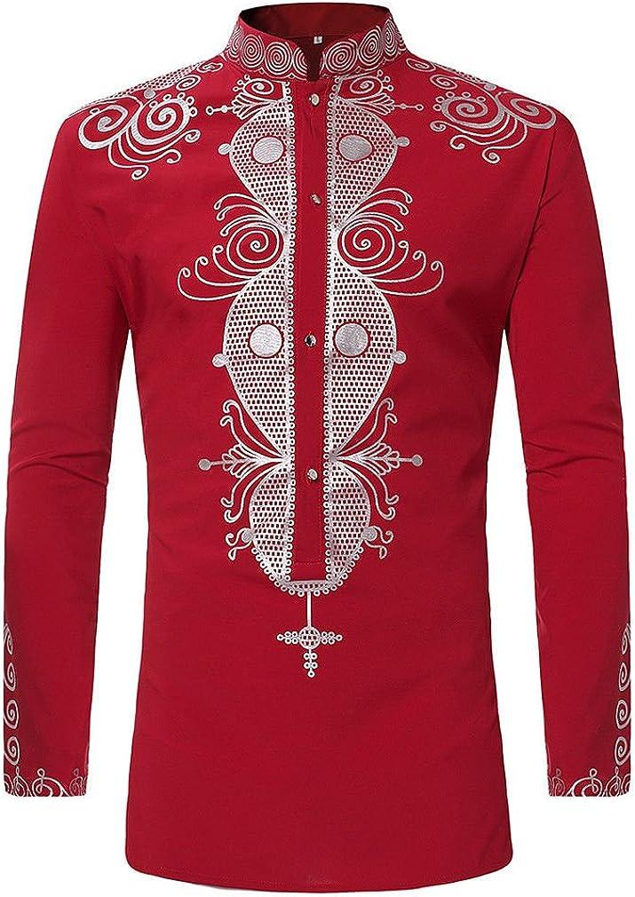AiRobin Camisa de Manga Larga con Cuello Redondo, Estampado Tribal, Primavera otoño: Amazon.es: Ropa y accesorios