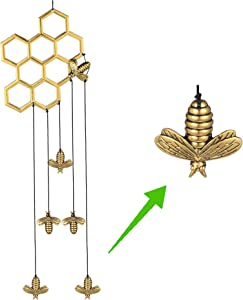 MEMGIFT Bee Honeycomb Wind Chimes for Outside Outdoor Indoor Garden Yard Porch Patio Home Déco Handmade Aluminum Windchimes Cute Honeybee Unique for Home Decor Women Best Friend Family