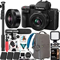 Panasonic DC-G100KK LUMIX G100 Mirrorless 4K Vlogging Camera with 12-32mm F3.5-5.6 Lens 3 Battery Bundle Deco Gear Backpack + Photo Video LED + Microphone + Monopod + 64GB Software Kit & Accessories