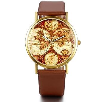JewelryWe Reloj Pulsera de las mujeres patrón de mapa del mundo reloj de pulsera con piel café: Amazon.es: Relojes