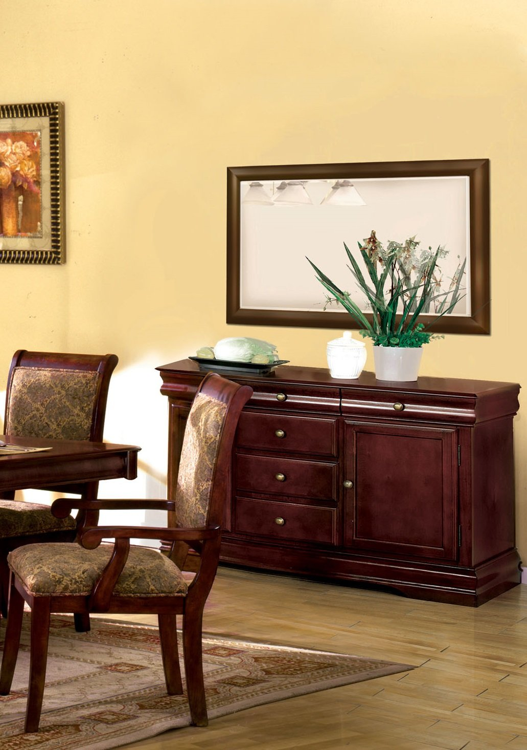 Furniture of America Bernette Framed Wall-Mounted Mirror, Antique Cherry Finish by Furniture of America (Image #2)