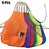 Fansport Kids Apron Creative Solid Color Non-woven Drawing Apron Art Smock with Front Pockets