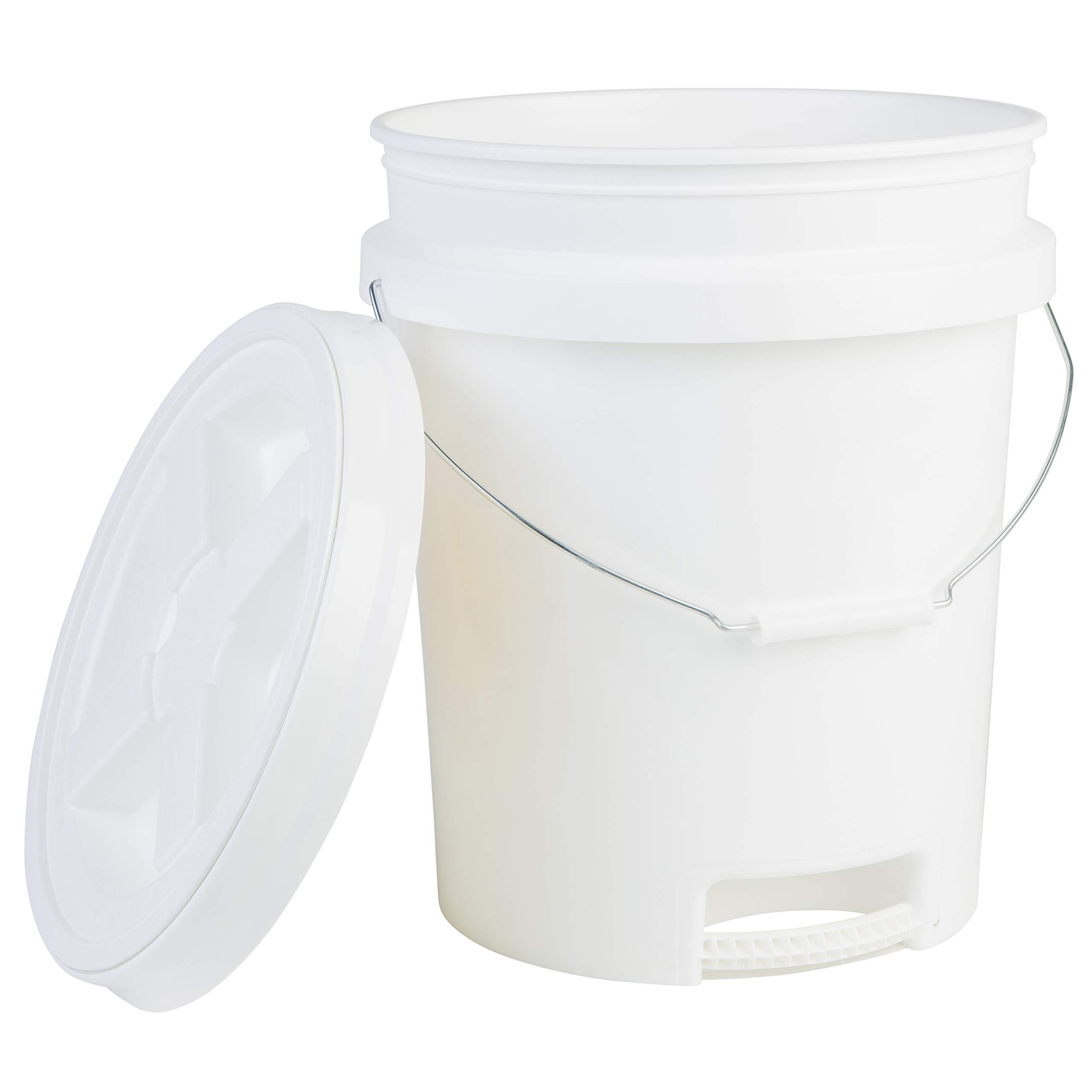Hudson Exchange 5 Gallon Bucket with Bottom Grip Handle & Gamma Seal Lid, HDPE, White