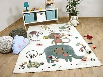 Maui Kinder Teppich Kids Lustige Tiere Creme Bunt in 3 Größen ...