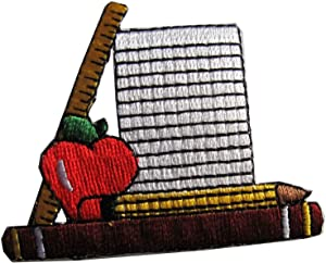 Spk Art Notebook & Pencil & Ruler & Book Apple Embroidery Iron On Applique Patch, Sew on Patches Badge DIY Craft