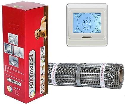 FOXYSHOP24-elektrische Fu/ßbodenheizung PREMIUM MARKE FOXYMAT.SL mit Thermostat FOXYREG SPSW,Komplett-Set 3.0 m/² 160 Watt pro m/² 0.5m x 6m