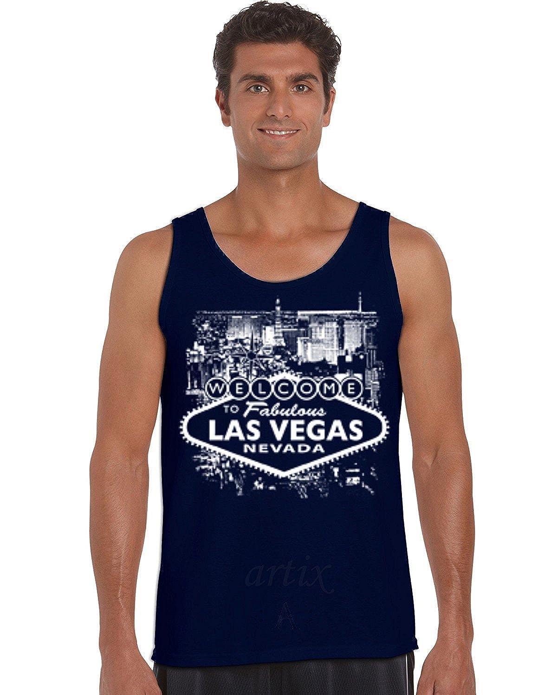 Artix A Welcome to Las Vegas Nevada Men Tank Top Small Navy Blue