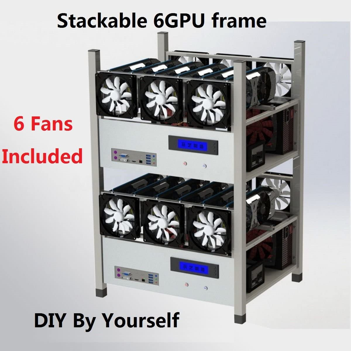 6 GPUs Stackable Open Air Mining Case Computer Frame Rig With LCD panel 6 Cooling Fan