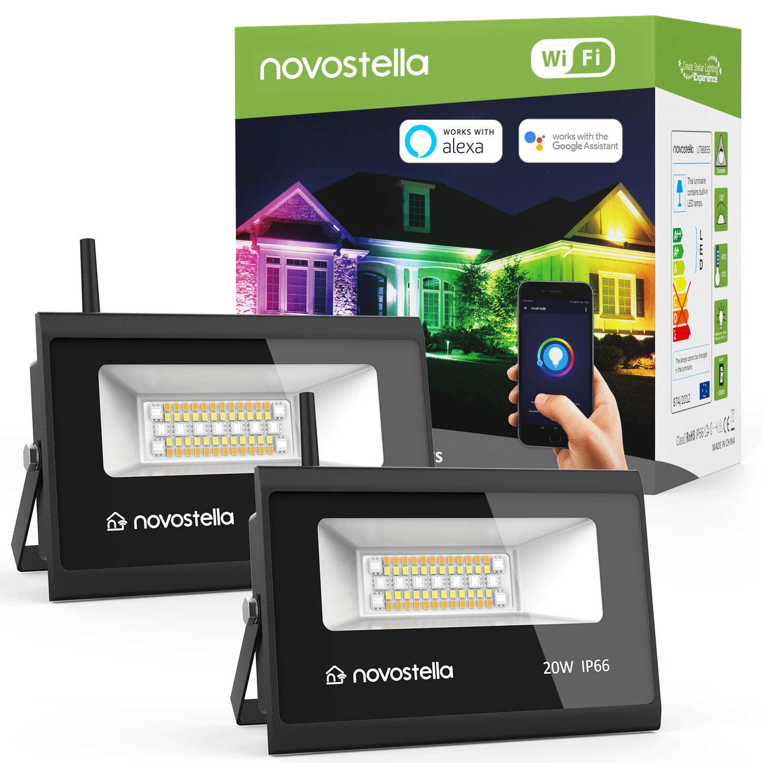 Novostella 2 Pack 20W Smart LED Flood Lights, RGBCW, 2700K-6500K, 2000LM, WiFi Outdoor Dimmable Color Changing Stage Light, IP66 Waterproof, Multicolor Wall Washer Light, Work with Alexa, Google Home by NOVOSTELLA