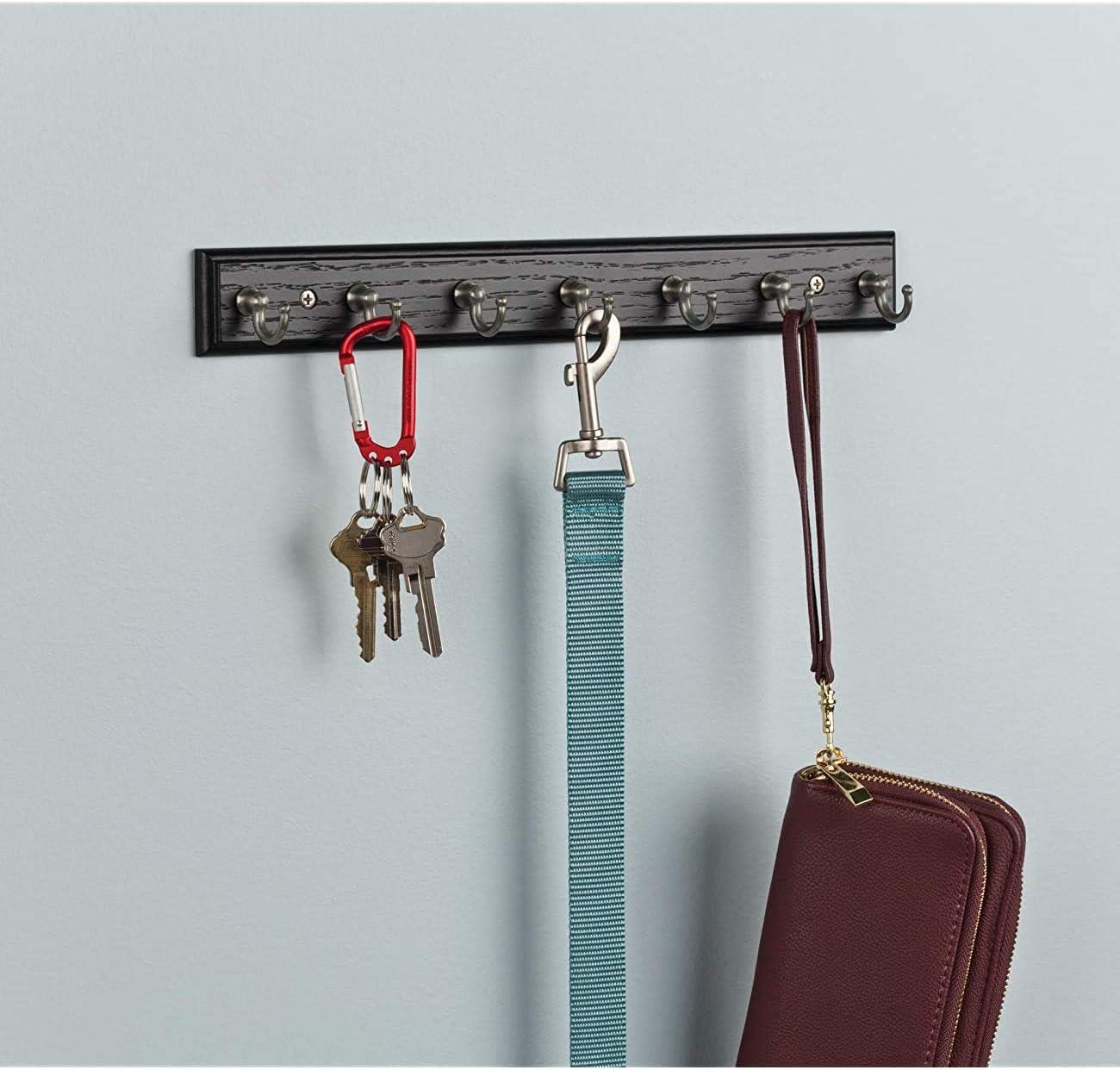14-inch Rack Key Rail with 7 Hooks Black /& Satin Nickel