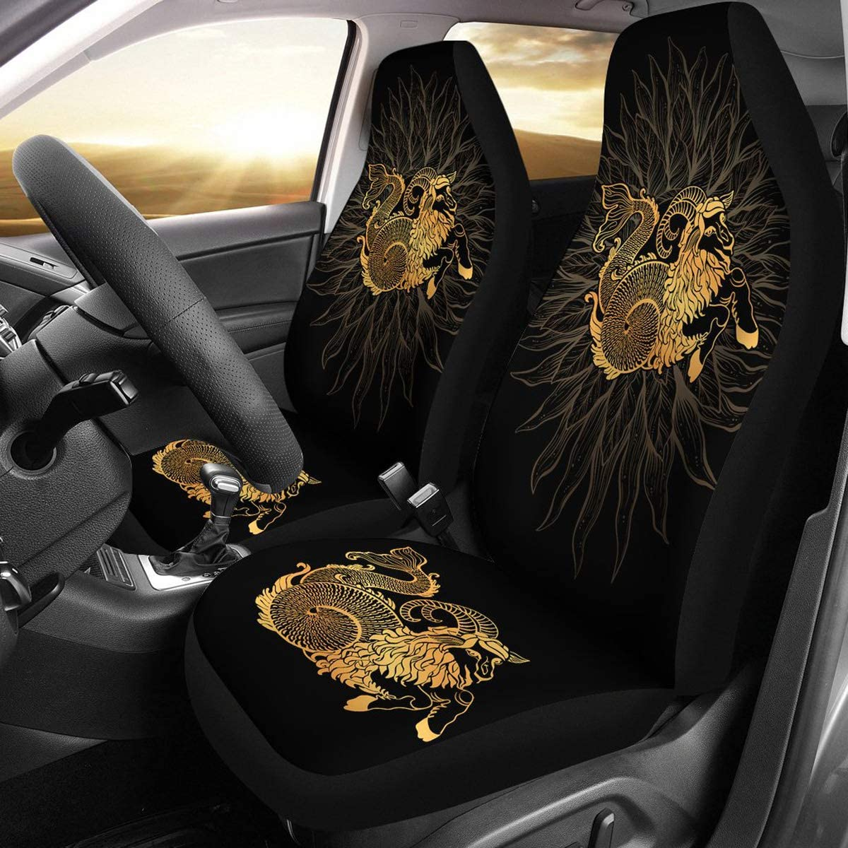 Custom Car Seat Protector Capricorn Lover Front Car Cover Gift freedomlook Capricorn Zodiac Car Front Seat Covers Set of 2