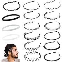 Diademas de metal de 16 piezas para hombres y mujeres, bandas para el cabello elásticas antideslizantes de varios…