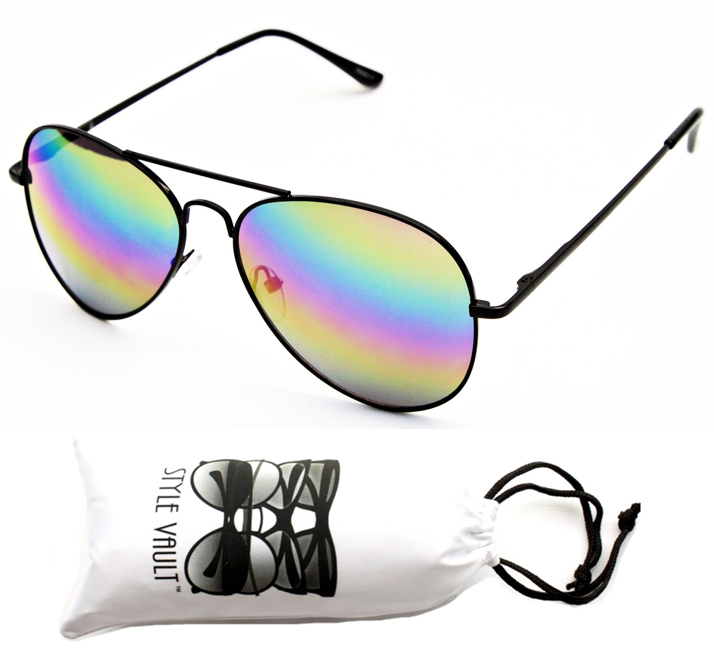 A120-vp Aviator 80s Metal Sunglasses Unisex (RB Black-Rainbow Mirror, uv400)