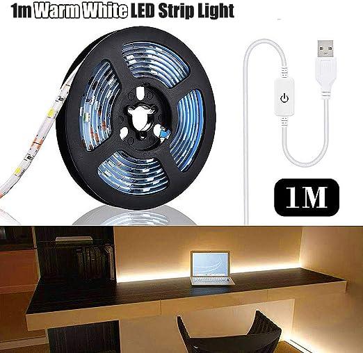 Luz de tira LED Energía USB Impermeable 1m Resina Cinta flexible Interruptor táctil Dormitorio Decoración DIY (Blanco cálido): Amazon.es: Iluminación