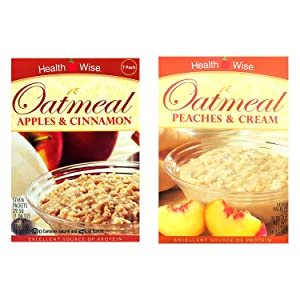 Healthwise - Apple Cinnamon & Peaches & Cream Oatmeal - High Protein, Low Calorie, Low Sugar, 7 Servings Per Box