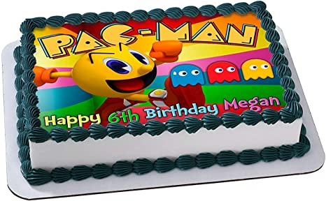 Awesome Amazon Com Pacman Edible Cake Topper Personalized Birthday 1 4 Funny Birthday Cards Online Alyptdamsfinfo
