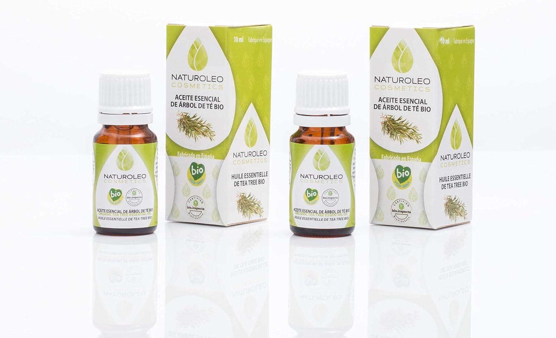 Naturoleo Cosmetics - Árbol de Té BIO - Aceite Esencial 100% Puro Ecológico Certificado - 10 ml + 10 ml: Amazon.es: Belleza