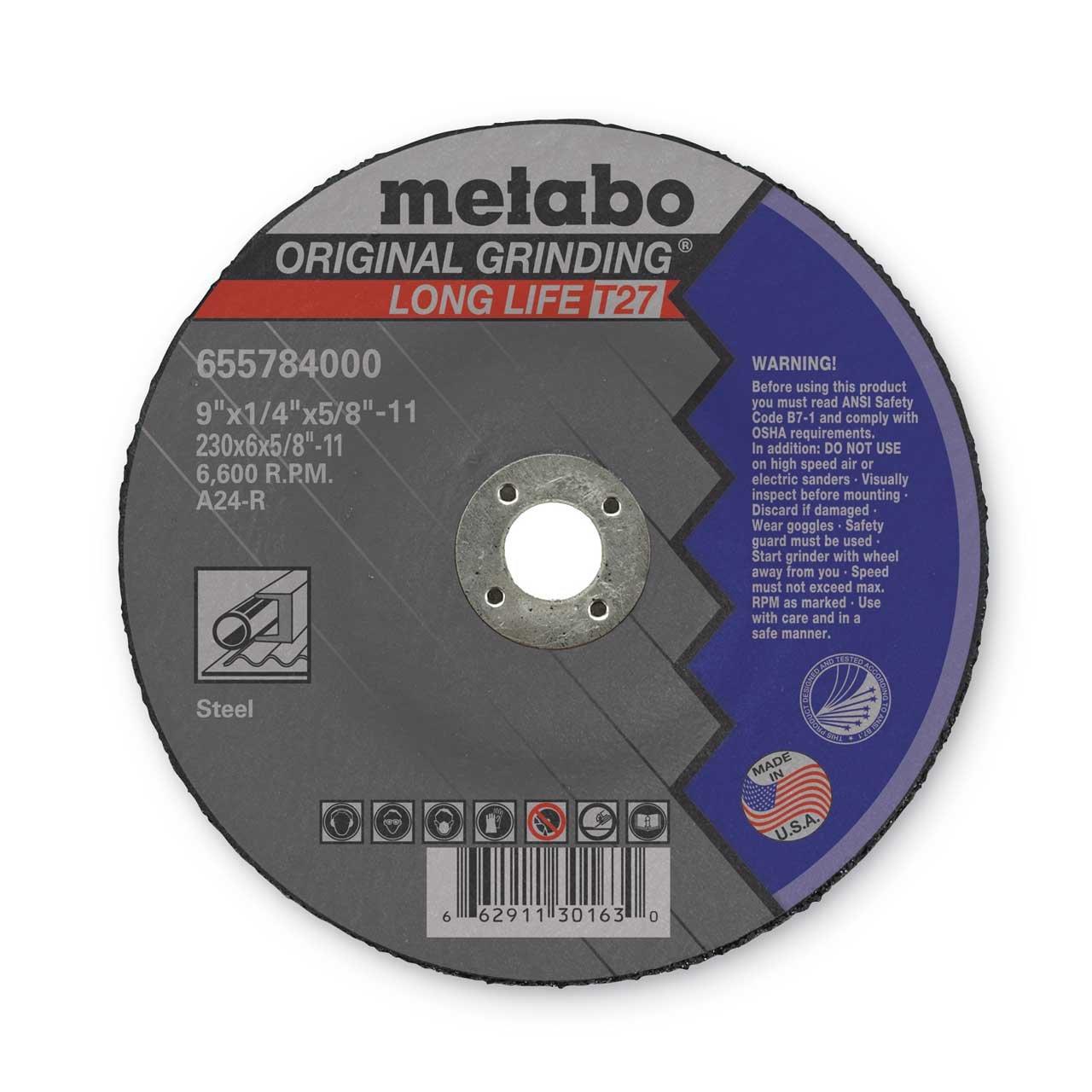 Metabo 655784000 9' x 1/4 x 5/8-11 Long Life - Depressed Center Grindi