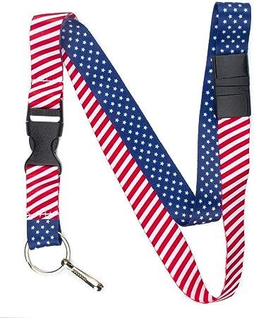 American Flag USA ID Neck Lanyard w//Breakaway Red White /& Blue Stars /& Stripes