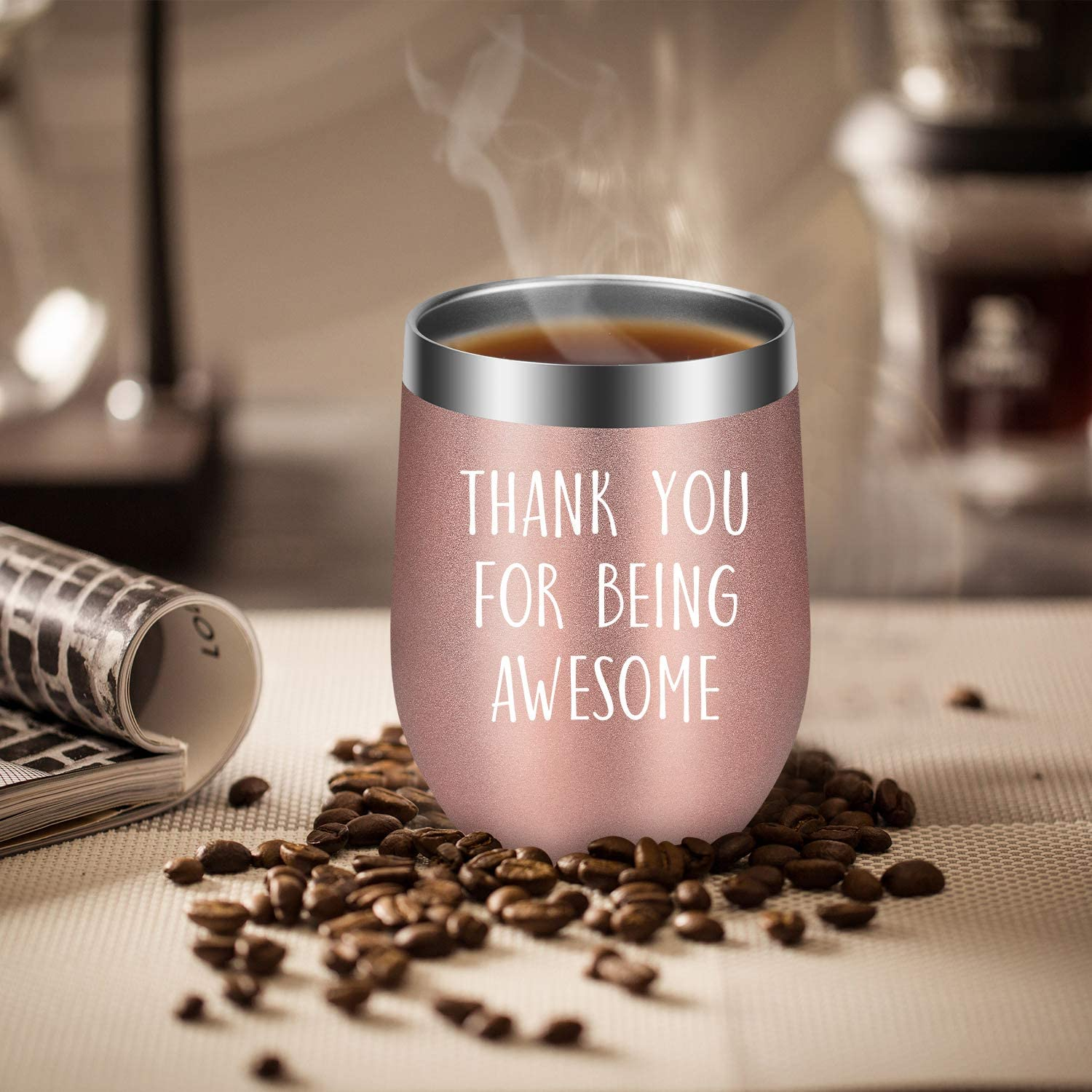 Thank You for Being Awesome LEADO Wine Tumbler Cup Christmas Wine Gifts Ideas for Best Friend Coworker Employee Appreciation Gifts Funny Friendship Thank You Gifts for Women Boss Birthday
