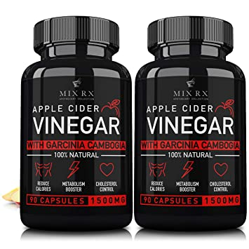 2 Pack 180 Pills Apple Cider Vinegar Capsules W Garcinia Cambogia 1500mg Acv Tablets Fiber