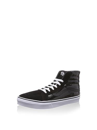 de3af00b236f7e Vans Men s Patent Galaxy Sk8-Hi Slim Skateboarding Shoe Black True White 6 B