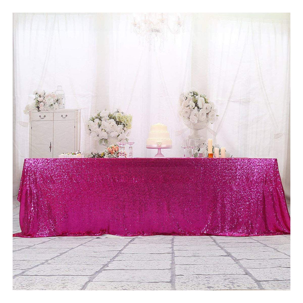 3e Home 60×120'' Rectangle Sequin Tablecloth for Party Cake Dessert Table Exhibition Events, Fuchsia