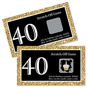 Adult 40th Birthday Gold Birthday Party Game Scratch Off Cards 22 Count By Big Dot Of Happiness Amazon In Toys Games