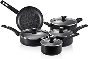 CSK Kitchen Cookware Set - Pots and Pans Set with Lid, Nonstick Pan Set with Black Granite Derived Coating, All-Stove Suitable, PFOS/PFOA Free, Housewarming Gift, Black with White Dot, 9 Pieces