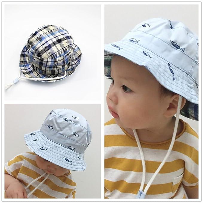 b88b2608fa02 Enfants bébé seau chapeau Bonnet de soleil réversible en coton chapeau de  plage pliable avec mentonnière réglable protection solaire chapeau des  animaux ...