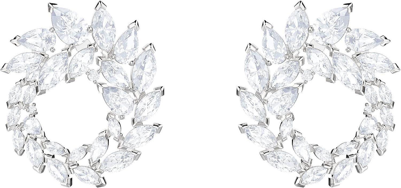 Swarovski Pendientes de aro Louison, baño de rodio, cristal blanco, para mujer