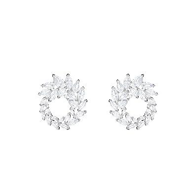 ed120a53a05b71 Swarovski Louison Hoop Pierced Earrings, White, Rhodium plating ...