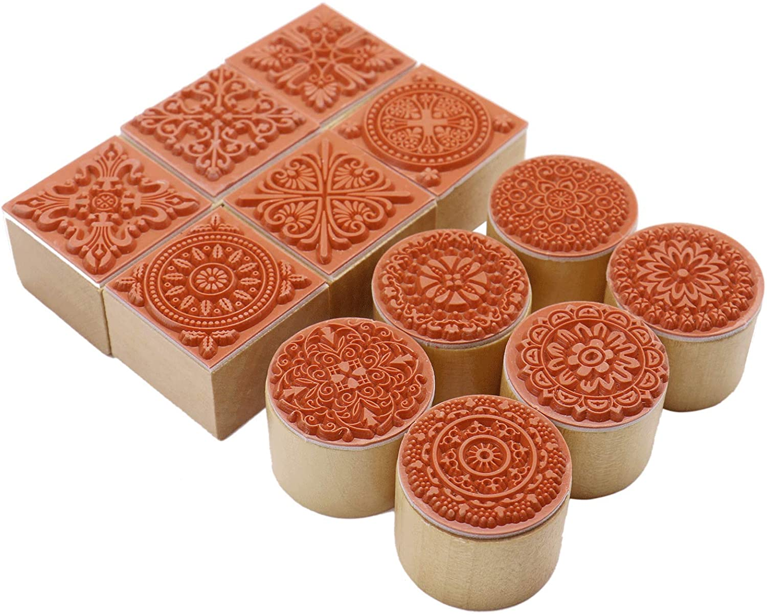 Fciqven 12Pcs Wooden Stamps Floral Pattern Rubber Stamp Round and Square Lace Wooden Rubber Stamp for Scrapbooking and DIY Craft Card