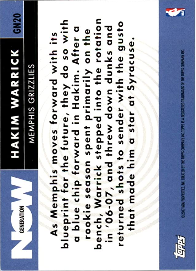 2007 08 topps generation now gn20 hakim warrick nm mt at 2007 08 topps generation now gn20 hakim warrick nm mt at amazons sports collectibles store malvernweather Images