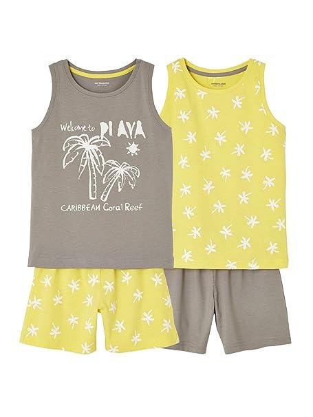 VERTBAUDET Lote de 2 pijamas con short combinables AMARILLO MEDIO BICOLOR/MULTICO 2A: Amazon.es: Ropa y accesorios