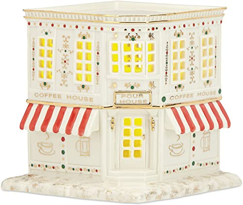 Lenox Porcelain Mistletoe Park Village Treasures Collection 5-in Lighted Coffee Shop