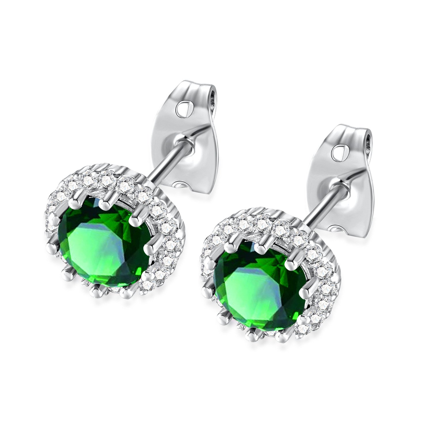 Santune Stainless Steel Stud Earrings Hypoallergenic Cubic Zirconia Colorful for Women Girls